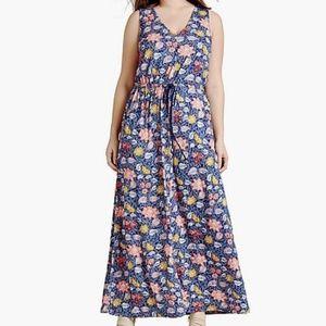 Lucky Brand Batik Floral Boho Peasant Maxi Dress